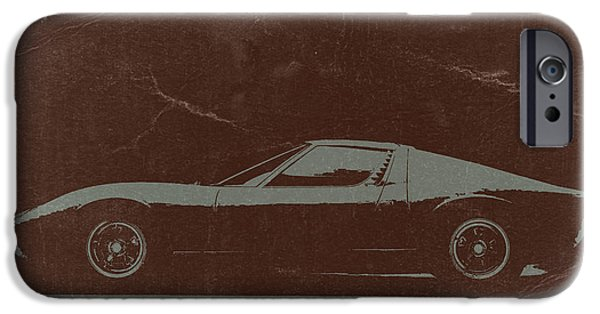 Vintage Car iPhone Cases -  Lamborghini Miura iPhone Case by Naxart Studio