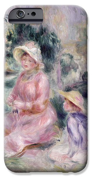 Child iPhone Cases -  Madame Renoir and Her Son Pierre iPhone Case by Pierre Auguste Renoir