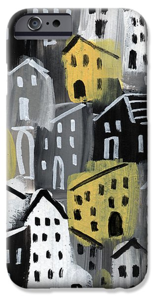 Village iPhone 6 Case -  Rainy Day - Expressionist Art by Linda Woods