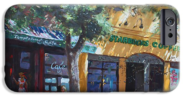 Main Street iPhone Cases -  Starbucks Hangout iPhone Case by Ylli Haruni