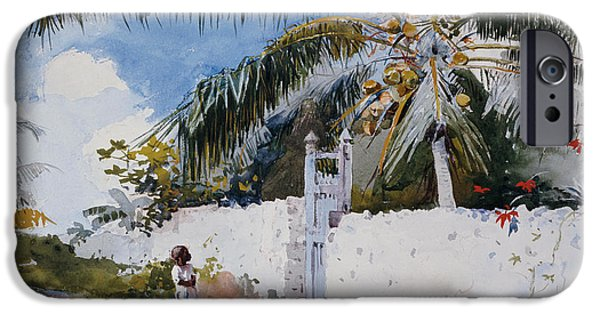 Young Paintings iPhone Cases - A Garden in Nassau iPhone Case by Winslow Homer