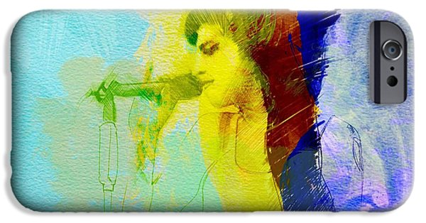 British Portraits iPhone Cases - Amy Winehouse iPhone Case by Naxart Studio