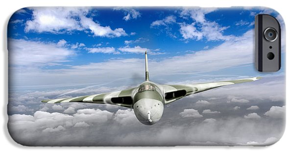 IPhone 6 Case featuring the digital art Avro Vulcan Head On Above Clouds by Gary Eason