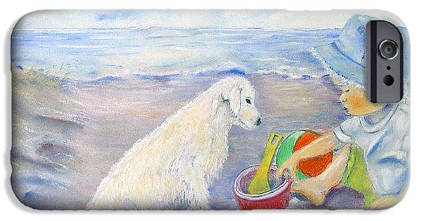 Marine Pastels iPhone Cases - Beach Boy iPhone Case by Loretta Luglio