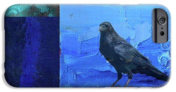 IPhone 6 Case featuring the digital art Blue Raven by Nancy Merkle
