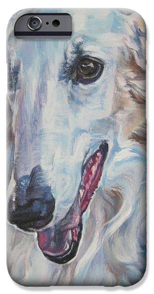 L.a.shepard iPhone Cases - Borzoi iPhone Case by Lee Ann Shepard