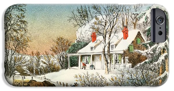 Rural Snow Scenes iPhone Cases - Bringing Home the Logs iPhone Case by Currier and Ives