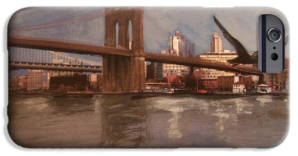 Brooklyn Bridge Mixed Media iPhone Cases - Brooklyn Bridge iPhone Case by Anita Burgermeister