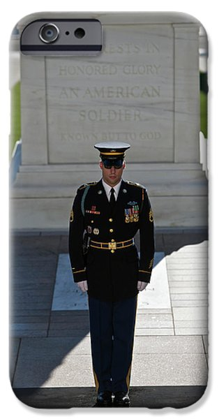 Headstones iPhone Cases - Changing Of Guard At Arlington National iPhone Case by Terry Moore