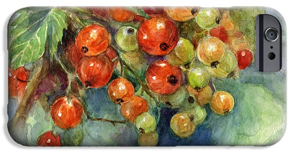 """texas Artist"" iPhone Cases - Currants berries painting iPhone Case by Svetlana Novikova"