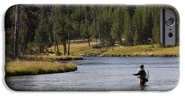 Flyfishing iPhone Cases - Fly Fishing in the Firehole River Yellowstone iPhone Case by Dustin K Ryan