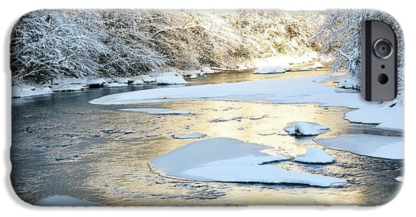 Snow Scene iPhone Cases - Fresh Snowfall Gauley River iPhone Case by Thomas R Fletcher
