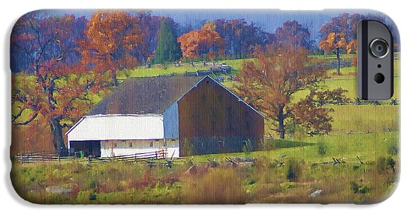 Gettysburg Digital iPhone Cases - Gettysburg Barn iPhone Case by Bill Cannon