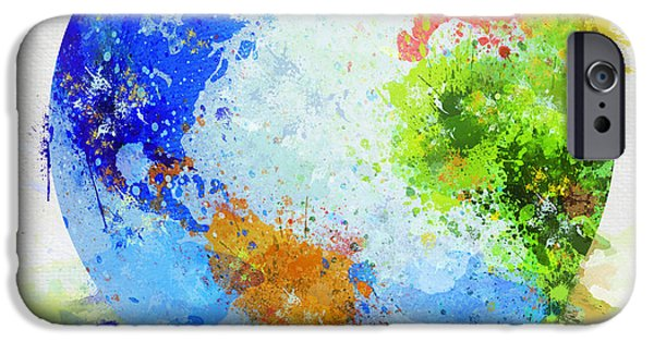 Dirty Digital iPhone Cases - Globe Painting iPhone Case by Setsiri Silapasuwanchai