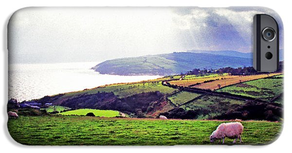 Grazing Sheep iPhone Cases - Grazing Sheep County Antrim iPhone Case by Thomas R Fletcher