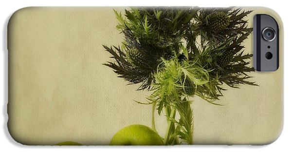 Flower Still Life iPhone Cases - Green Apples And Blue Thistles iPhone Case by Priska Wettstein