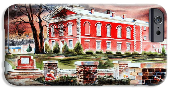 Drama Mixed Media iPhone Cases - Iron County Courthouse II iPhone Case by Kip DeVore