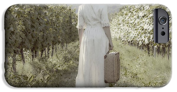 Field. Cloud iPhone Cases - Lady In Vineyard iPhone Case by Joana Kruse