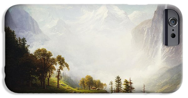 Fall Scenes iPhone Cases - Majesty of the Mountains iPhone Case by Albert Bierstadt