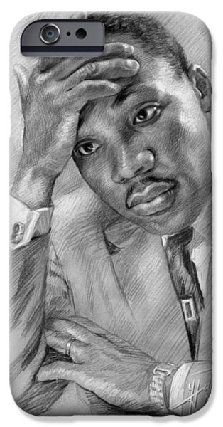 Martin Luther King Jr iPhone Cases - Martin Luther King Jr iPhone Case by Ylli Haruni