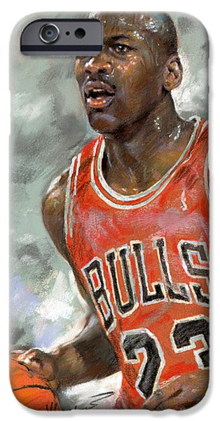 Bulls Pastels iPhone Cases - Michael Jordan iPhone Case by Ylli Haruni