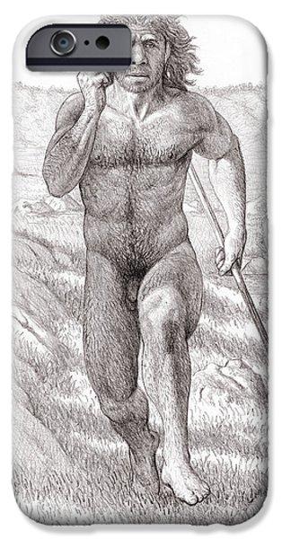 Homo iPhone Cases - Neanderthal Man iPhone Case by Mauricio Anton
