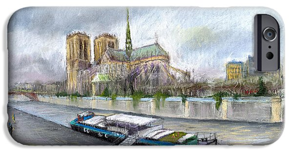Old Pastels iPhone Cases - Paris Notre-Dame de Paris iPhone Case by Yuriy  Shevchuk