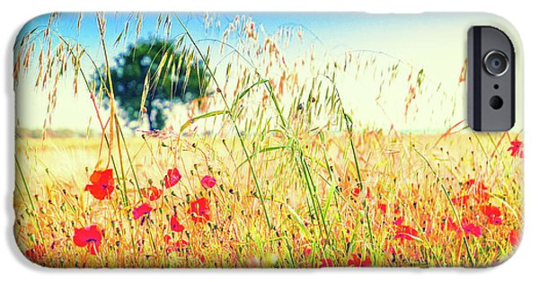 IPhone 6 Case featuring the photograph Poppies With Tree In The Distance by Silvia Ganora