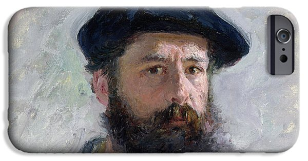 ist Self Portrait Paintings iPhone Cases - Self Portrait with a Beret iPhone Case by Claude Monet