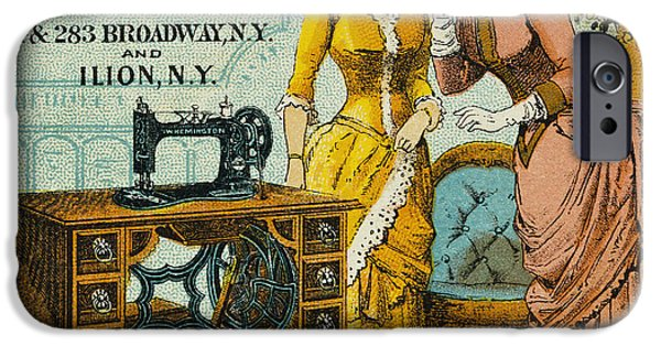 1880s iPhone Cases - SEWING MACHINE AD, c1880 iPhone Case by Granger