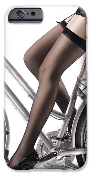 Seductive iPhone Cases - Sexy Woman Riding a Bike iPhone Case by Oleksiy Maksymenko