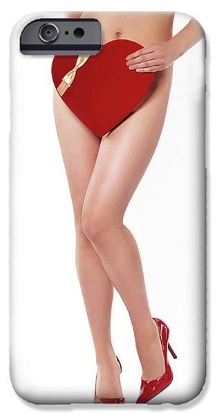 Seductive iPhone Cases - Sexy Young Woman With a Valentine Gift iPhone Case by Oleksiy Maksymenko