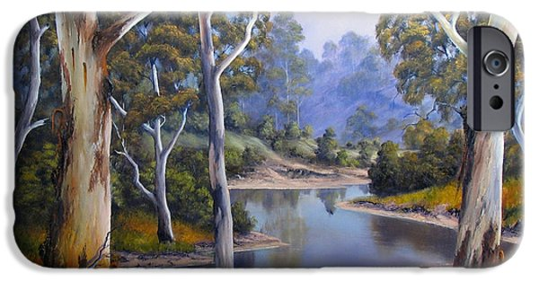 River Reliefs iPhone Cases - Shallow River iPhone Case by John Cocoris