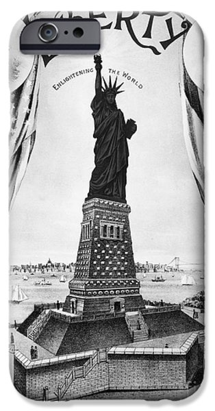 Statue Portrait iPhone Cases - Statue Of Liberty, 1885 iPhone Case by Granger