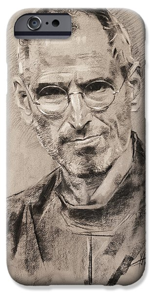 Food And Beverage Pastels iPhone Cases - Steve Jobs iPhone Case by Ylli Haruni