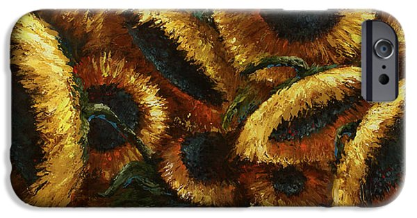 Pallet Knife Paintings iPhone Cases - Sunflowers iPhone Case by Michael Lang