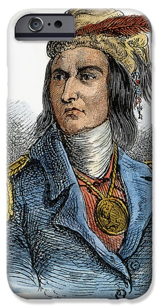 Feathered Hat iPhone Cases - Tecumseh (1768-1813) iPhone Case by Granger