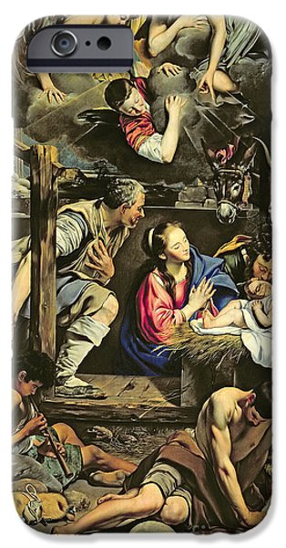 Manger iPhone Cases - The Adoration of the Shepherds iPhone Case by Fray Juan Batista Maino or Mayno