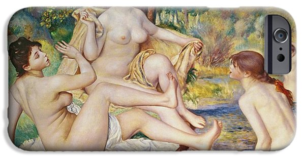 Female Body iPhone Cases - The Bathers iPhone Case by Pierre Auguste Renoir