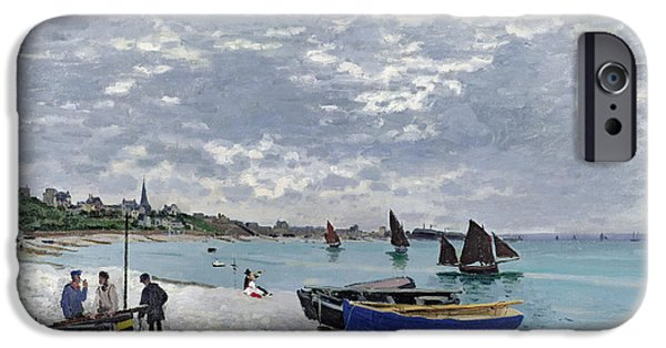 Sailing Paintings iPhone Cases - The Beach at Sainte Adresse iPhone Case by Claude Monet