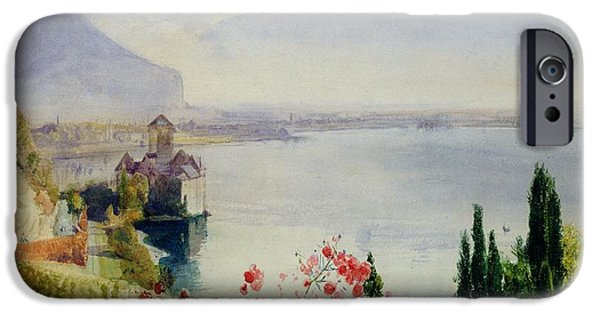 Hill iPhone Cases - The Castle at Chillon iPhone Case by John William Inchbold