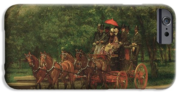 Pulling Paintings iPhone Cases - The Fairman Rogers Coach and Four iPhone Case by Thomas Cowperthwait Eakins
