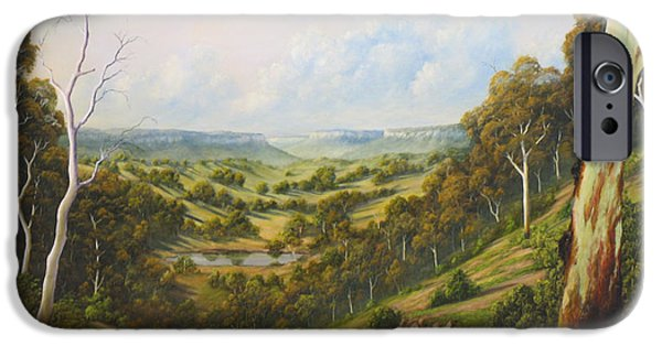 Landscapes Reliefs iPhone Cases - The Lost Sheep In The Scrub iPhone Case by John Cocoris