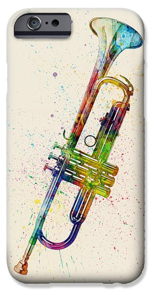 Strings Digital iPhone Cases - Trumpet Abstract Watercolor iPhone Case by Michael Tompsett
