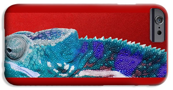 Bright iPhone 6 Case - Turquoise Chameleon On Red by Serge Averbukh