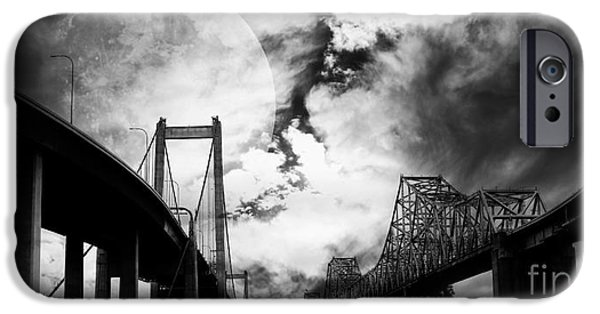 Wing Tong Digital iPhone Cases - Two Bridges One Moon iPhone Case by Wingsdomain Art and Photography