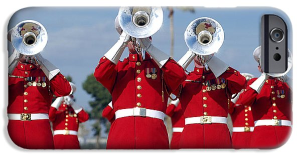 Marching Band Photographs iPhone Cases - U.s. Marine Corps Drum And Bugle Corps iPhone Case by Stocktrek Images