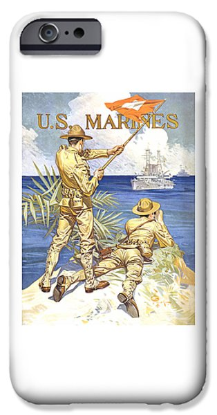 Dogs Mixed Media iPhone Cases - US Marines iPhone Case by War Is Hell Store
