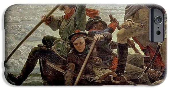 Boat Paintings iPhone Cases - Washington Crossing the Delaware River iPhone Case by Emanuel Gottlieb Leutze