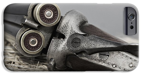 Fade iPhone Cases - Webley and Scott 12 Gauge - D002721a iPhone Case by Daniel Dempster